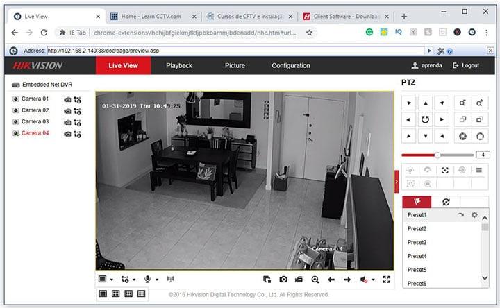 Google Chrome IE tab Hikvision DVR login OK