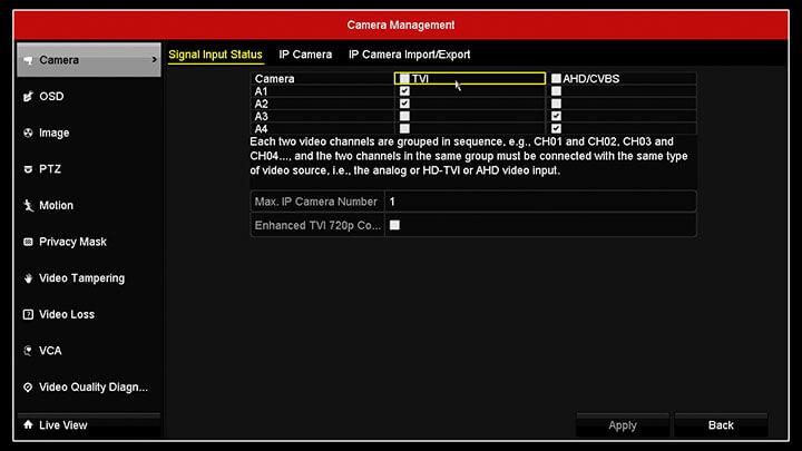 Hikvision DVR camera menu