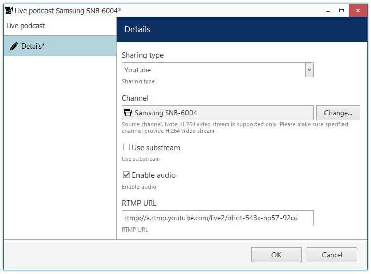 Luxriot Live Stream Server URL e Key