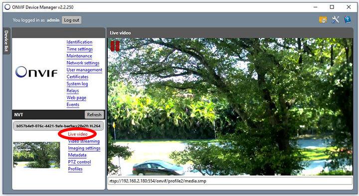 ONVIF Device Manager video en vivo