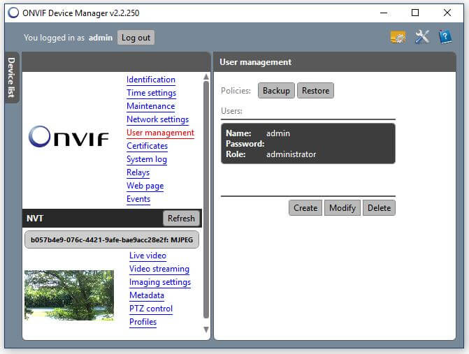 Onvif Device Manager Camera-User Management