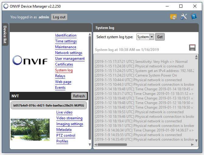 Onvif Device Manager Camera system log