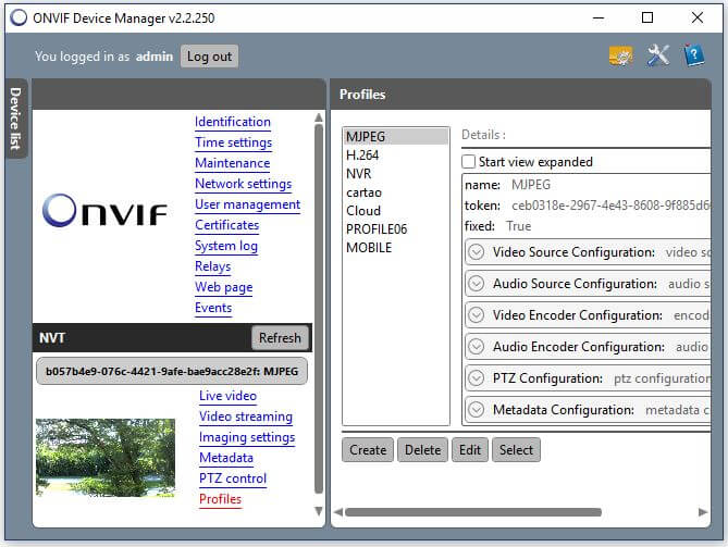 Onvif Device Manager Camera Profiles