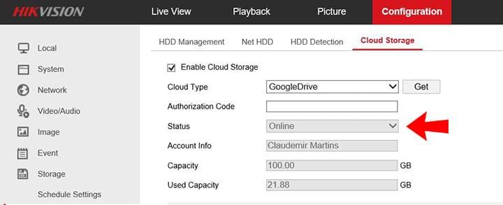 HikvDVR de Hikvision trabajando con Google Drive