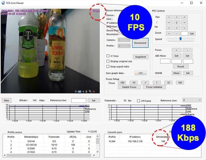 Bitrate para cámera IP 10 FPS 640x360p