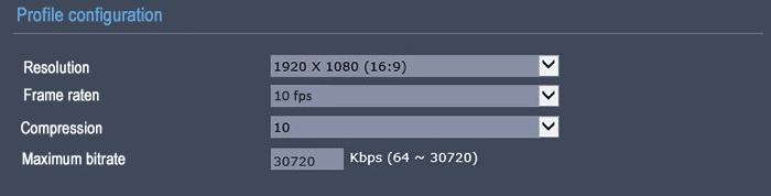 Frame rate 10 FPS resolution 1080