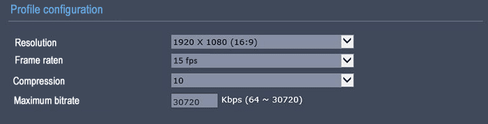 Frame rate 15 FPS resolution 1080