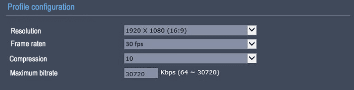 Frame rate 30 FPS resolution 1080