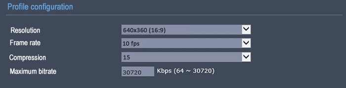 bitrate at 640x360 15FPS