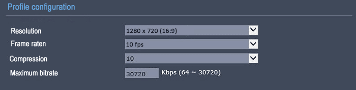 Bitrate on 720p 10FPS