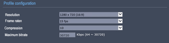 Bitrate on 720p 15FPS