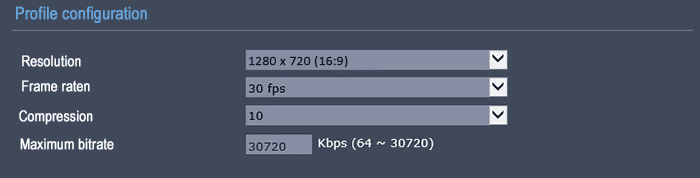 Bitrate on 720p 30FPS