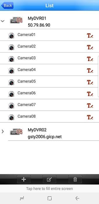 App Meye lista de cámaras