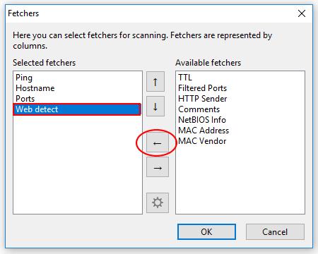 Configuración de los fetechers en Angry IP Scanner