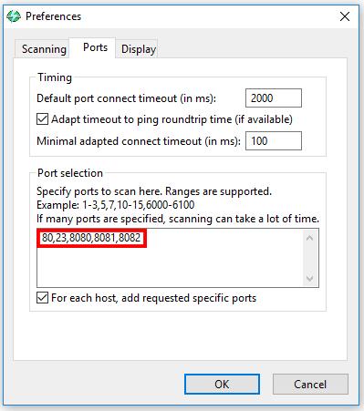 Configuración de los puertos de Angry IP Scanner