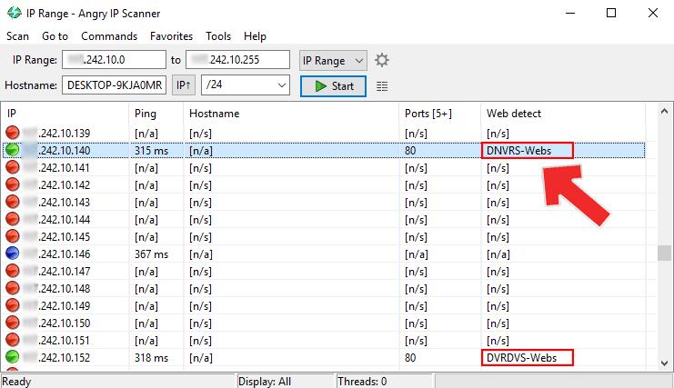Resultado del escaneo de Angry IP scanner