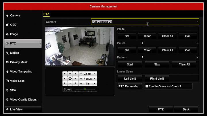 Hikvision DVR camera menu PTZ