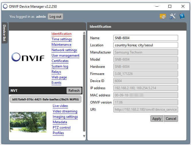 Onvif Device Manager Camera Identification