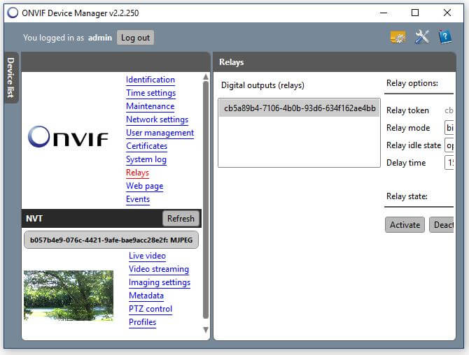 Onvif Device Manager Camera Relays