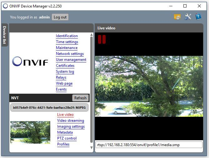 Onvif Device Manager Camera Live Video