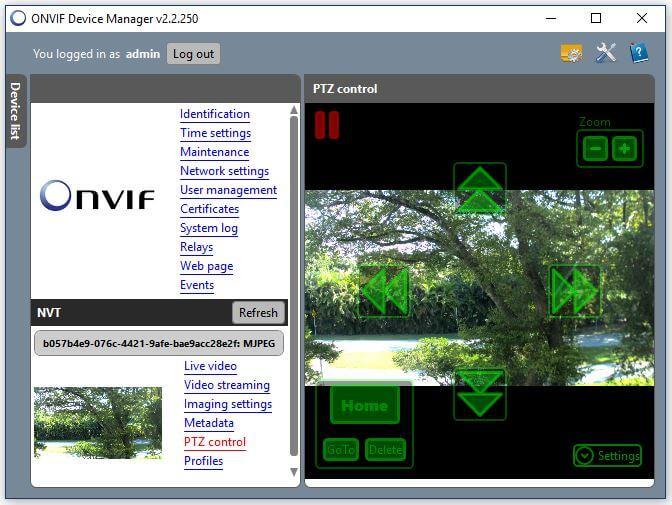 Onvif Device Manager Camera PTZ control
