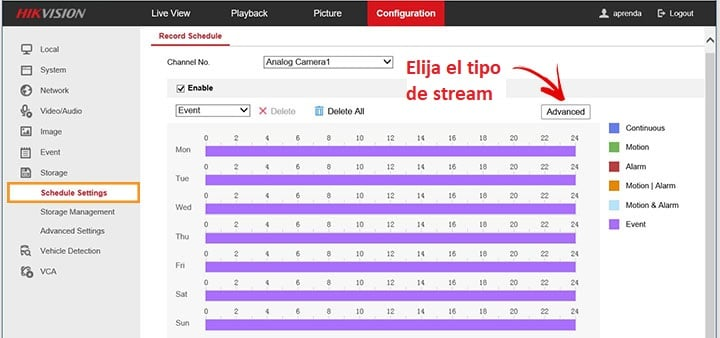 DVR Hikvision tipo de stream de video