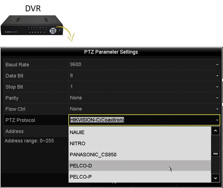 Menu del DVR para ajuste de PTZ por RS-485
