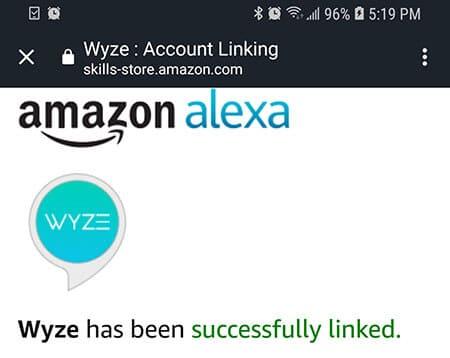 Akexa linked to Wyze Account