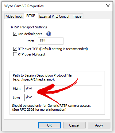 Configuración de RTSP para la cámara Wyze