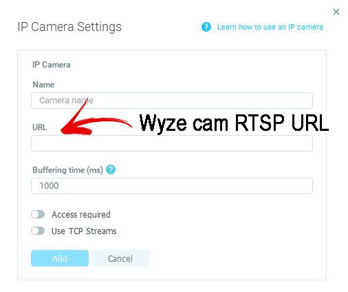 Inserte la URL RTSP de Wyze Cam