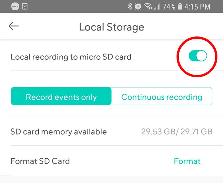Grabación en tarjeta de memoria