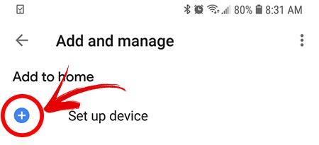 """En la siguiente pantalla, haga clic en """"+"""" para configurar un dispositivo."""
