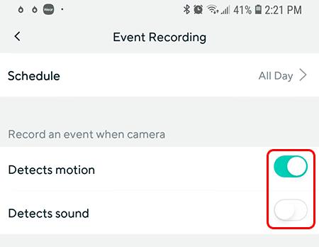 Grabación por evento