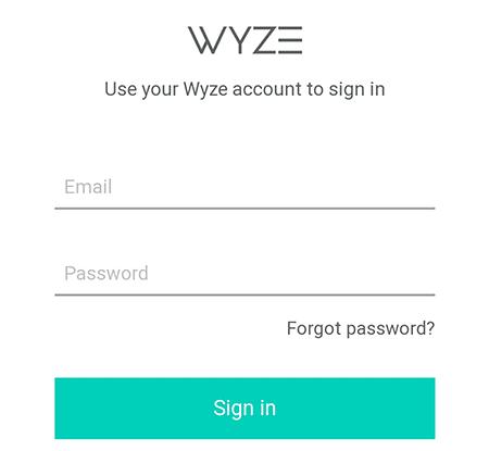 Ingrese las credenciales de la cuenta de Wyze.