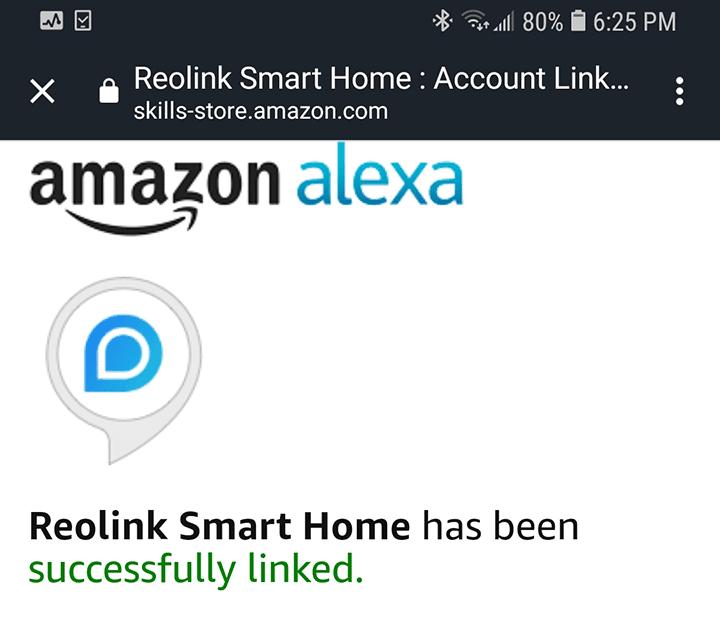 Alexa conectada con Reolink