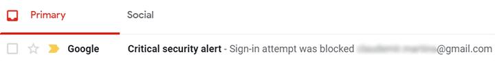 Alerta de seguridad de Gmail