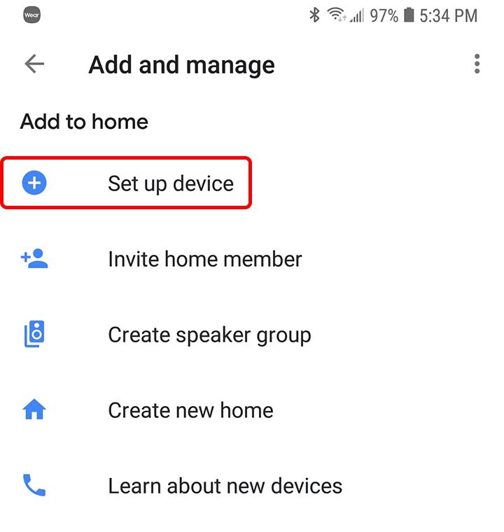 Google Home Configuración de dispositivo