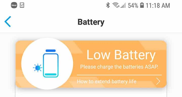 Reolink Argus PT - Alerta de poca bateria
