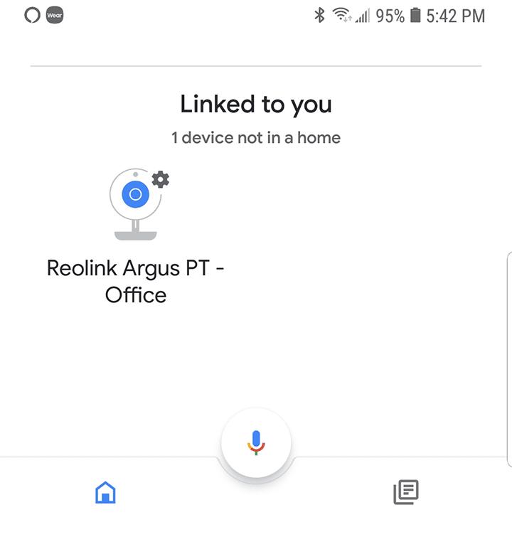 Reolink camera vinculado a Google Home