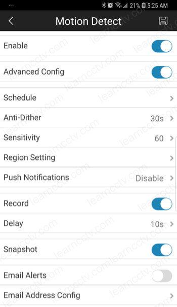 Amcrest App motion detection option