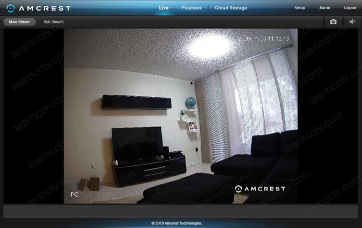 Amcrest IP camera Live via web browser