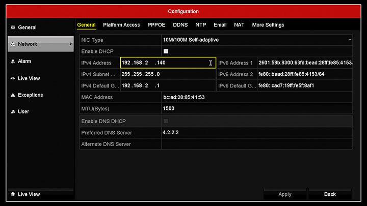 Hikvision DVR Menu Network IP