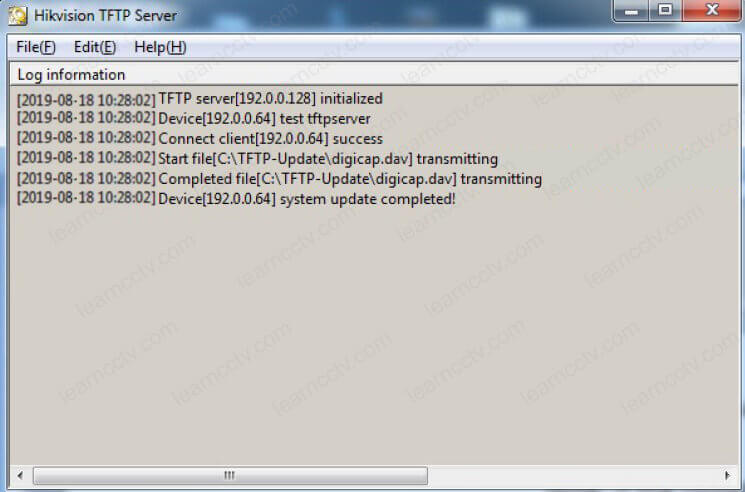Hikvision TFTP Server transmitting complete