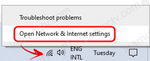 Open Network and Internet Settings