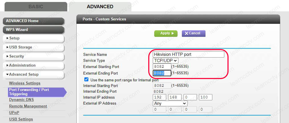 Router port forwarding for Hikvision
