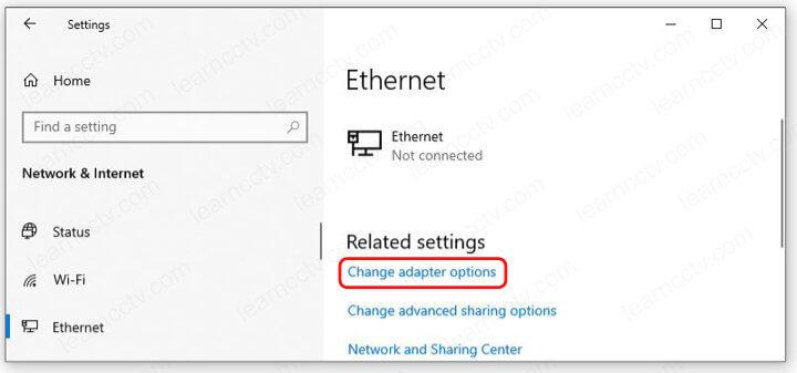 Winbdows Change Adapter Options