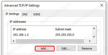 Windows Ethernet Properties Add IP