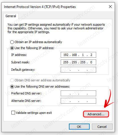 Windows Ethernet Properties Advanced