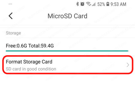 YI Home App Micro SD card format
