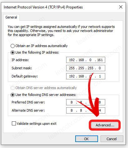 Advanced IP Settings